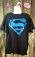 SUPERMAN Black Mens T Shirt Large Blue Logo Action Comics Character SZ L