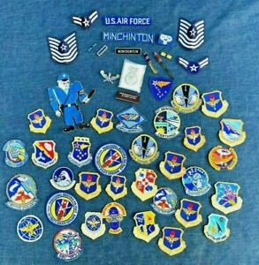 50 Lot VTG US Air Force Estate Patches & Air Police Badge #K9471 - Obsolete USAF