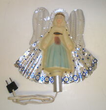 VTG 50s Angel Christmas Tree Top Topper Plastic Foil  Wings Lighted Electric