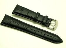 Lug 23mm Black Quality Crocodile Grain Leather Men's Watch Strap with 2 pins