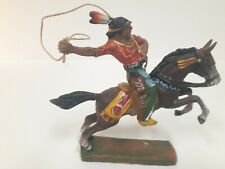 Elastolin Germany Made Indian Horse Mounted with Lasso Toy M-324