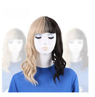 Women's Hot Melanie Martinez Wig Half Blonde And Black Culy Cosplay Wigs+Cap