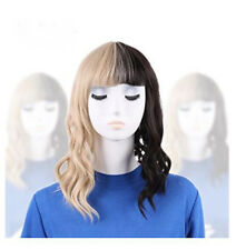 Fashion Women's Melanie Martinez Wig Half Blonde And Black Wave Cosplay Wigs+Cap