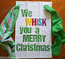 We Whisk You A Merry Christmas GRN 100% Cotton Kitchen 3pk Tea Towel Ladelle Set