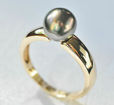 TAHITIAN BLACK PEARL RING 8.5mm CULTURED PEARL GENUINE 9K 375 GOLD SIZE Q NEW
