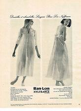 PUBLICITE ADVERTISING  1962   BAN LON NYLFRANCE nuisette  VALISERE & PRADELS