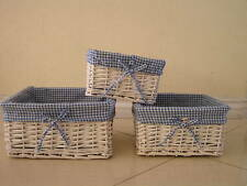 3 Nesting White Wicker Display Set Storage Baskets w/Lining Baby Gift Christmas