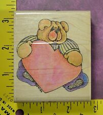 TEDDY BEAR with HEART love romance book plate rubber stamp