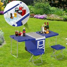 Picnic Camping Foldable Outdoor Table Ice Cooler Party Drink Storage W/chair*2