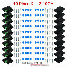 Delphi Weather Pack 4 Pin Sealed Connector Kit 12-10 GA !!!10 COMPLETE KITS!!