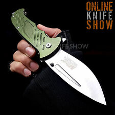 MTECH GREEN TACTICAL Spring Assisted Open Pocket Knife Folding Bowie Blade ARMY