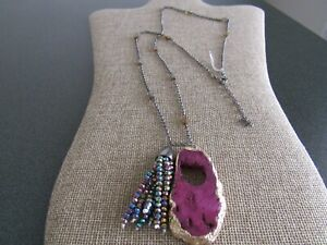 Panacea chain with purple drusy pendant statement necklace