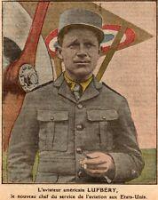 IMAGE 1914 PRINT GUERRE 14 /18 WW1 USA AVIATEUR LUFBERY AVIATOR