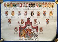 Aufschwörungstafel KÖNIG GEORG I. VON ENGLAND, Aquarell auf Bütten, Wappen, 1780