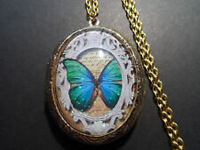 """GOLD PLATED LOCKET GLASS CAMEO BUTTERFLY  24"""" CHAIN"""