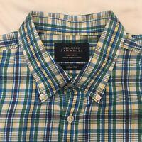 Charles Tyrwhitt Mens Large Weekend London Plaid Short Sleeve Green Yellow Blue