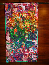 Crepe de chine long silk scarf Print of Lijin's bright multicoloured flowers NEW