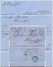 1851 SHIP LETTER INMAN LINE CITY of GLASGOW to USA 6c BLUE OCTAGON via LIVERPOOL