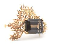 18K Yellow Gold Fiery Brooch Large 51 Carat Smoky Quartz Topaz 34.1g S.P. 124