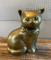 "Vintage Brass Kitten Cat & Roses Art Sculpture Statue Figurine 5"" Tall"