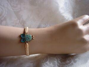 Makramee Armband Eule Freundschaftsarmband Handarbeit
