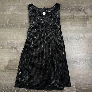 Mimi Maternity Shift Dress Black Polka Dot Sequin Sleeveless Tie Size M