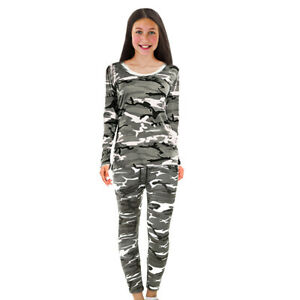 New Girls Camo Camouflage Army Tracksuit Sets Tops Bottoms Kids Ages 3-16 Years