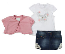NWT Mayoral Baby Girl Butterfly Top, Shrug and Denim Skirt 3PC Set ~ Size 24M
