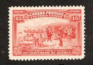 #102  -  Canada -  1908 -  15 Cent -  MH  -  F/VF -  superfleas cv$235