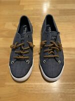 Sperry Topsider 7.5 Womens Slip On Canvas Leather Lace Up Shoes Blue