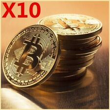 10Pcs Gold Bitcoin Coins Commemorative 2020 New Collectors Gold Plated Bit Coin