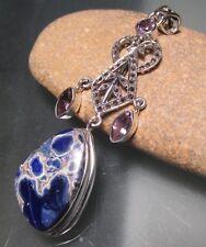 925 sterling silver amazing blue sodalite & cut amethyst pendant. Gift bag.
