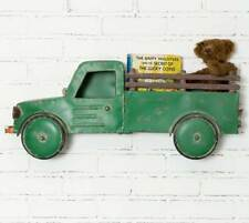 Country new large aged Green tin Truck wall hanger with basket / nice