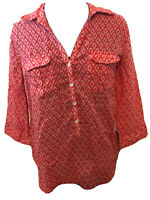 Chicos Women's Red White Long Sleeve Button Up Pattern Shirt Size 1