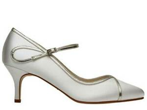 Rainbow Club Dorothy - Gold Overlay Ivory Satin Womens Wedding Court Bridal Shoe