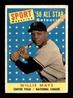 1958 Topps Set Break # 486 Willie Mays All Star VG *OBGcards*