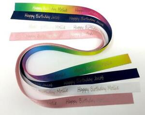 Happy Birthday Ribbon Personalised - Rose Gold Foil Writing