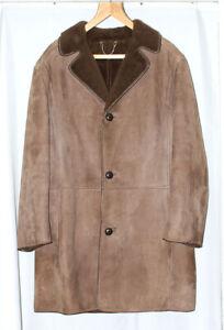 Vintage Sheepskin Jacket by Condor of Ipswich Suede Coat Mens Size 46 Inch