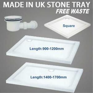 Slimline 40mm High Rectangle Shower Enclosure Stone Resin Tray FREE Waste