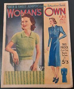 Vintage Woman`s Own magazine Aug 27th 1938 Sonja Henie skater Barbara Hedworth