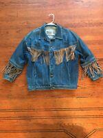Vintage Western Denim Suede Fringe Jacket Medium