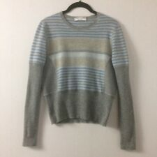 Brunello Cucinelli sz Large Wool Blend Cropped Sweater Blue Gray Stripe Long Slv