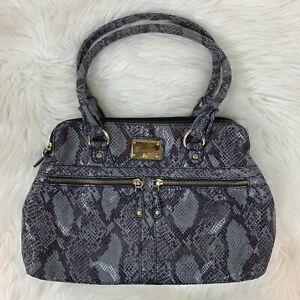 Marc Fisher Purse Shoulder Bag Faux Snakeskin Suede Gray Purple Tone Large Size