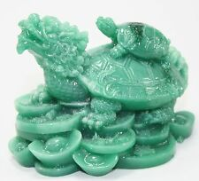 Feng Shui Green Dragon Turtle Statue Figurine Paperweight Gift Home Decor