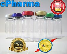 10 GLASS VIALS 10ML STERILE AND UNSEALED ALUMINIUM TOP LID VIAL BOTTLE/ 48mmH