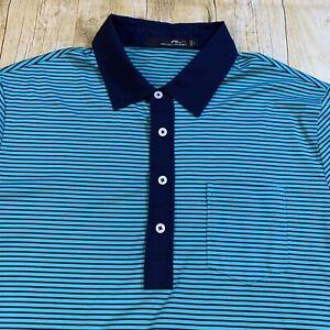 RLX Ralph Lauren Golf Green Striped Short Sleeve Polo Golf Shirt Large
