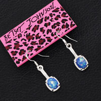 Women's Blue Faux Fire Opal Drop Eardrop Dangle Betsey Johnson Earrings Gift