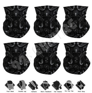 6 PACK Black Paisley Gaiter Tube Bandana Head Neck Scarf Motorcycle Bike