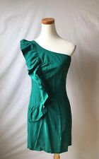 NEW Urban Outfitters Sparkle And Fade One Shoulder Green Ruffle Dress Sz M 6-8