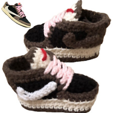 Crochet Baby Shoes Air Low J Basketball  Brown Pink 1 TS Shoes Sneaker